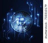 bitcoin conceptual background... | Shutterstock .eps vector #733310179