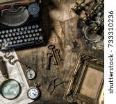 antique typewriter and vintage... | Shutterstock . vector #733310236