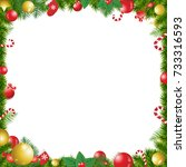 christmas tree decorated frame...   Shutterstock .eps vector #733316593