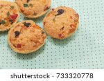 mix fruit cookie cup on fabric | Shutterstock . vector #733320778