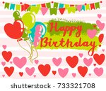 colorful greeting happy... | Shutterstock .eps vector #733321708