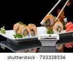 fresh crunchy fried shrimp... | Shutterstock . vector #733328536
