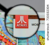 Small photo of Milan, Italy - August 10, 2017: Atari logo on the website homepage.