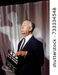 Small photo of VIENNA, AUSTRIA - OCT 4, 2017: Alfred Hitchcock, film director, adame Tussauds wax museum in Vienna.