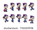vampire boy game sprites jump.... | Shutterstock .eps vector #733335958