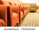 row of empty plush armchairs in ... | Shutterstock . vector #733343164