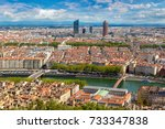 aerial panoramic view of lyon ... | Shutterstock . vector #733347838