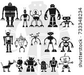 robots vector set isolated on... | Shutterstock .eps vector #733348234