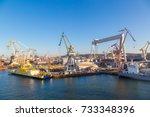 deepwater container terminal in ... | Shutterstock . vector #733348396