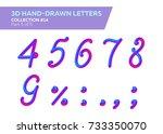 3d rounded headline font. neon... | Shutterstock .eps vector #733350070