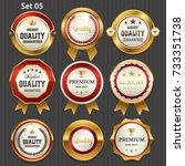 premium commercial golden badge ... | Shutterstock .eps vector #733351738