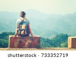 traveler woman sits at the edge ... | Shutterstock . vector #733352719