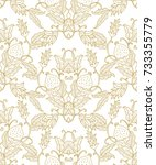 seamless vector pattern with... | Shutterstock .eps vector #733355779