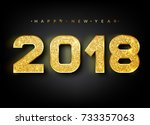 2018 happy new year. gold... | Shutterstock .eps vector #733357063