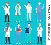 cartoon doctor and nurse on... | Shutterstock . vector #733359628