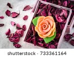 aromatherapy soap on a dried... | Shutterstock . vector #733361164