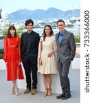 "Small photo of CANNES, FR - May 21, 2017: Stacy Martin, Louis Garrel, Michel Hazanavicius & Berenice Bejo at the photocall for ""The Formidable"" (Le Redoutable) at the 70th Festival de Cannes"