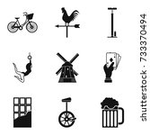 bicycle acrobat icons set.... | Shutterstock .eps vector #733370494