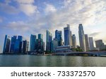 Small photo of Singapore - Jun 12, 2017. Business district at sunset in Singapore. Singapore is one of the original Four Asian Tigers, but has surpassed its peers in terms of GDP per capita.