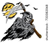 grim reaper graphic carrying a... | Shutterstock .eps vector #733382068