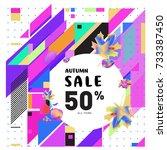 autumn sale memphis style web...   Shutterstock .eps vector #733387450