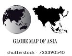 high detailed black globes and... | Shutterstock .eps vector #733390540