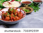 traditional spicy meatballs in... | Shutterstock . vector #733392559
