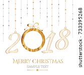 happy new year card. the year... | Shutterstock .eps vector #733395268