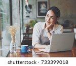 asian business woman working in ... | Shutterstock . vector #733399018