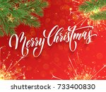 merry christmas greeting card... | Shutterstock .eps vector #733400830