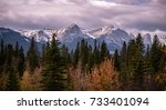 rocky mountain landscape with... | Shutterstock . vector #733401094