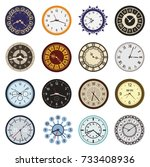 clock faces different design... | Shutterstock .eps vector #733408936