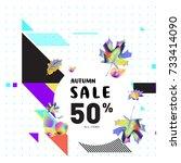 autumn sale memphis style web... | Shutterstock .eps vector #733414090