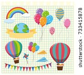 colorful balloons and flags on...   Shutterstock .eps vector #733415878