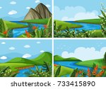 four scenes of river and field... | Shutterstock .eps vector #733415890