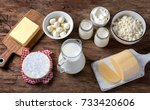 dairy products on wooden... | Shutterstock . vector #733420606