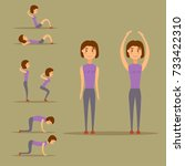 young woman is exercising at... | Shutterstock .eps vector #733422310