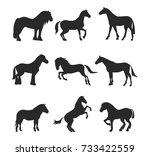 horse pony stallion isolated...   Shutterstock .eps vector #733422559