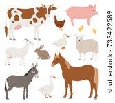 different home farm vector... | Shutterstock .eps vector #733422589