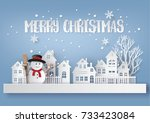 merry christmas and happy new... | Shutterstock .eps vector #733423084