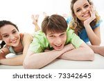 portrait of three happy... | Shutterstock . vector #73342645