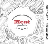 vector background with meat... | Shutterstock .eps vector #733428589