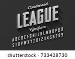 retro style condensed typeface  ... | Shutterstock .eps vector #733428730