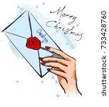 merry christmas. illustration... | Shutterstock .eps vector #733428760