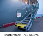 vessel gangway connect with the ...   Shutterstock . vector #733433896