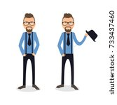 funny and cool cartoon guy in... | Shutterstock .eps vector #733437460