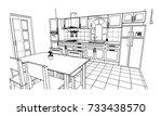 kitchen room   sketch design | Shutterstock .eps vector #733438570
