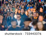 crowd of people on the street.... | Shutterstock . vector #733443376