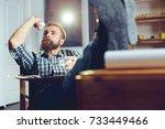 businessman throwing paper in... | Shutterstock . vector #733449466