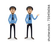 funny and cool cartoon guy in... | Shutterstock .eps vector #733456066